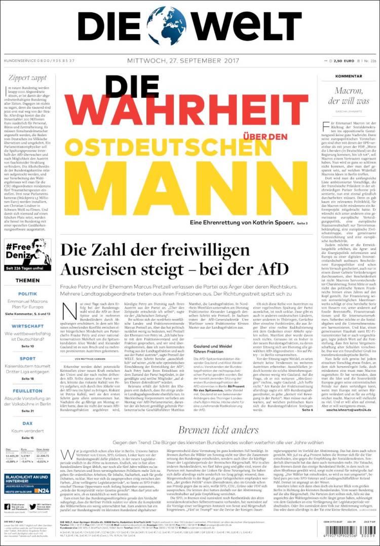 Portada de Die Welt (Alemania)