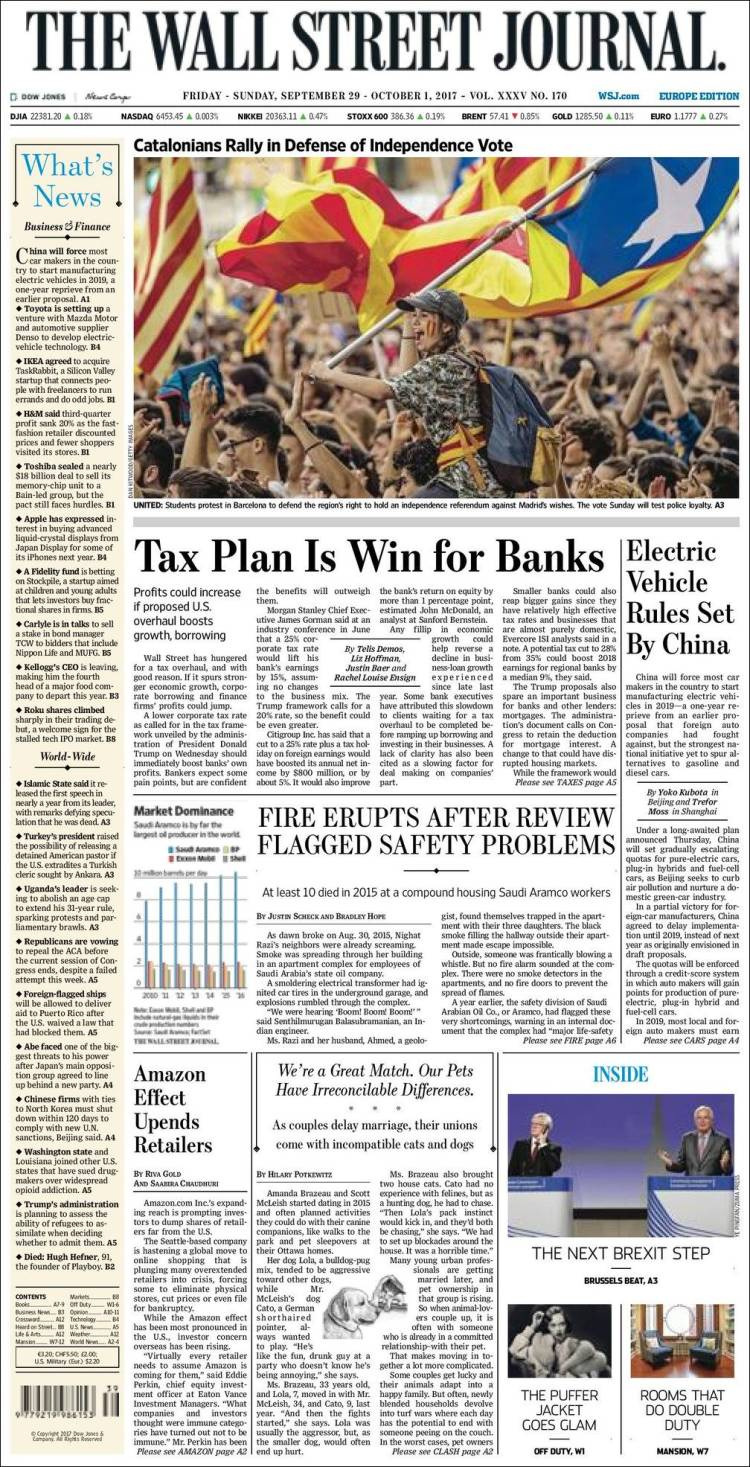 Portada de The Wall Street Journal - Europe (Europe)