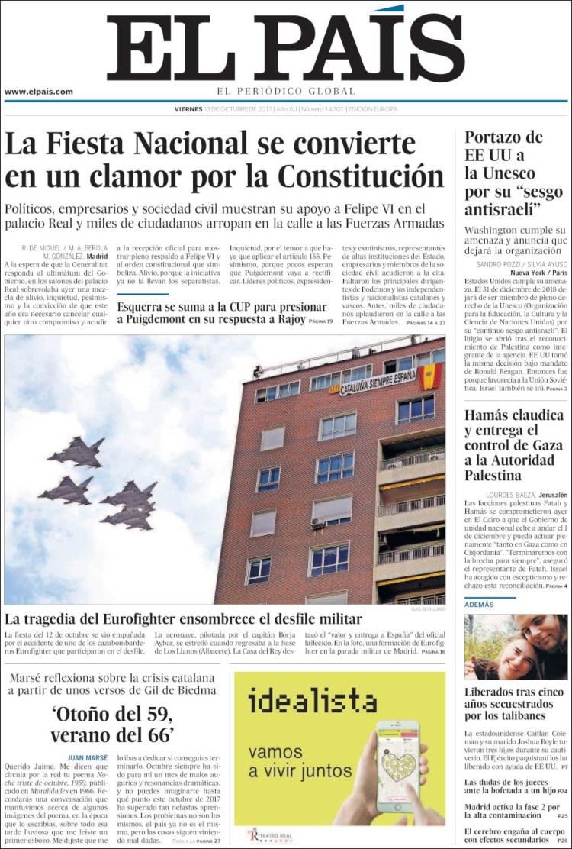 Portada de El País (España)