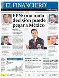 Portada de El Financiero (Mexique)