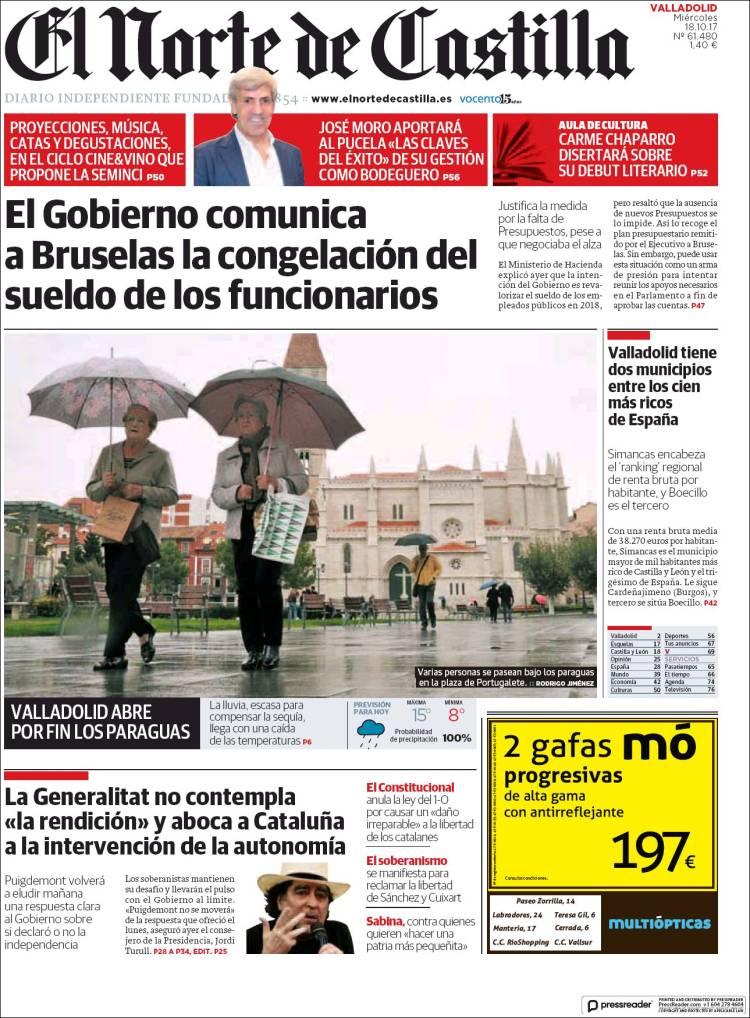 Portada de Norte de Castilla - Valladolid (España)