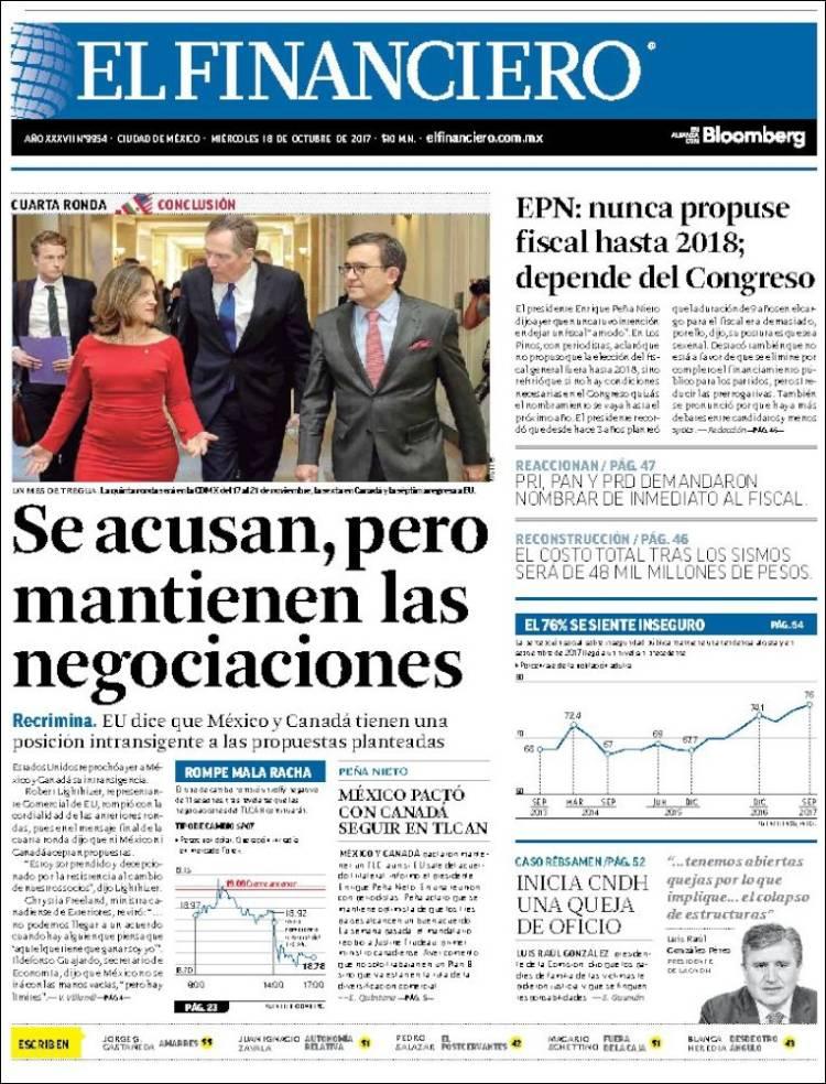 Portada de El Financiero (Mexico)