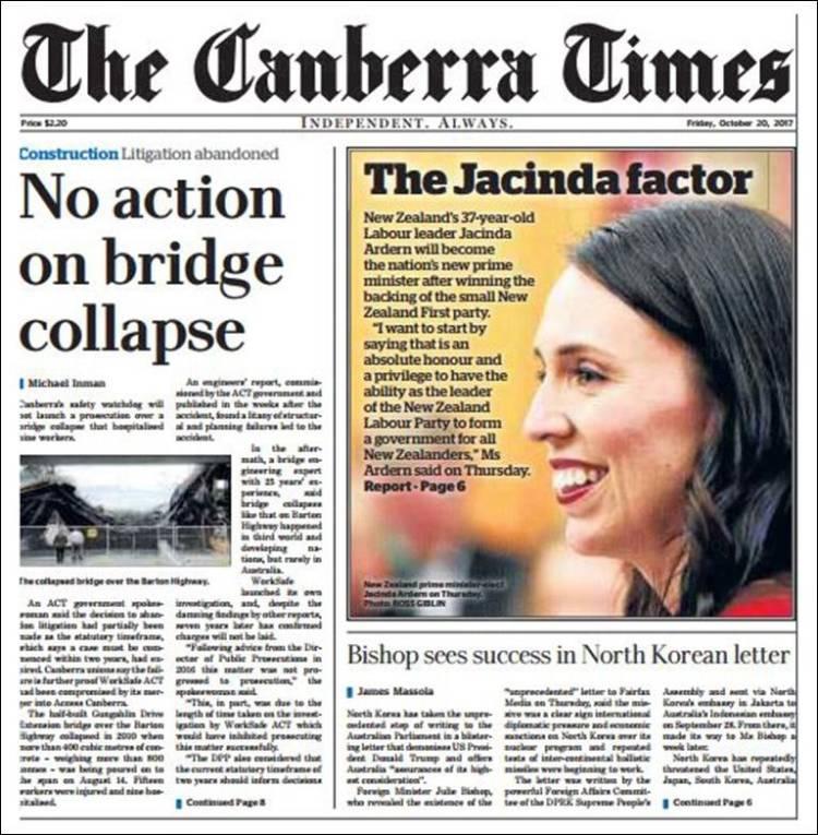 Portada de Canberra Times (Australia)