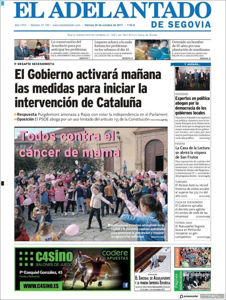 Portada de El Adelantado de Segovia (España)