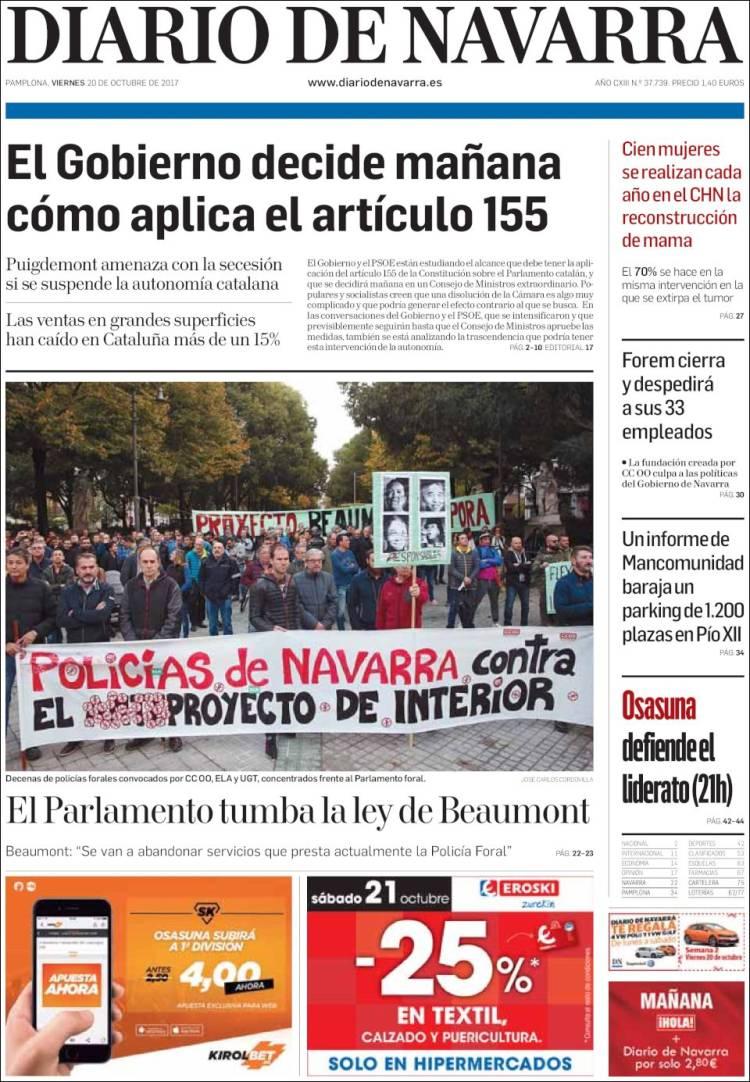 Portada de Diario de Navarra (España)
