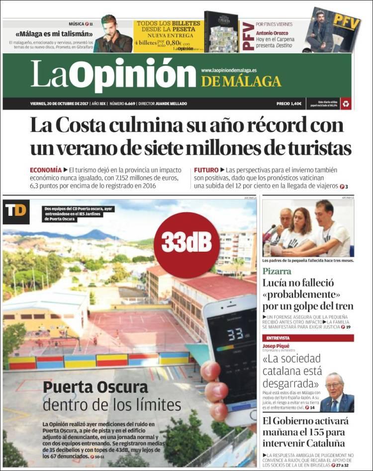Portada de La Opinión de Málaga (España)