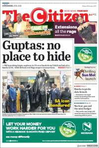 Portada de The Citizen (Sudáfrica)