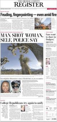 Portada de The Orange County Register (États-Unis)