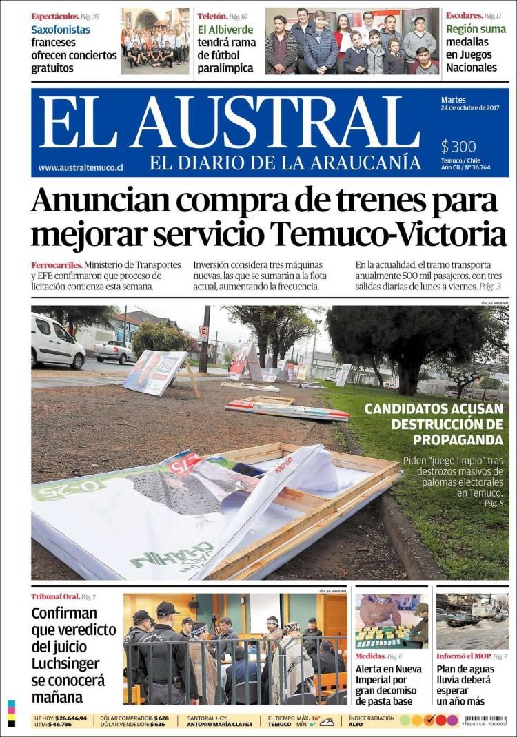 Portada de El Austral de Temuco (Chili)