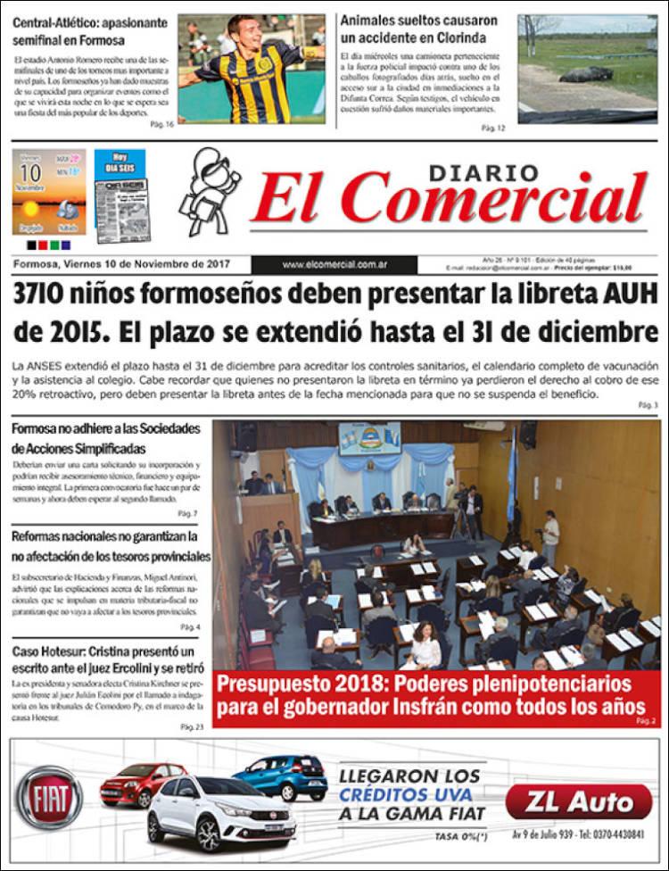 Portada de Diario El Comercial (Argentina)