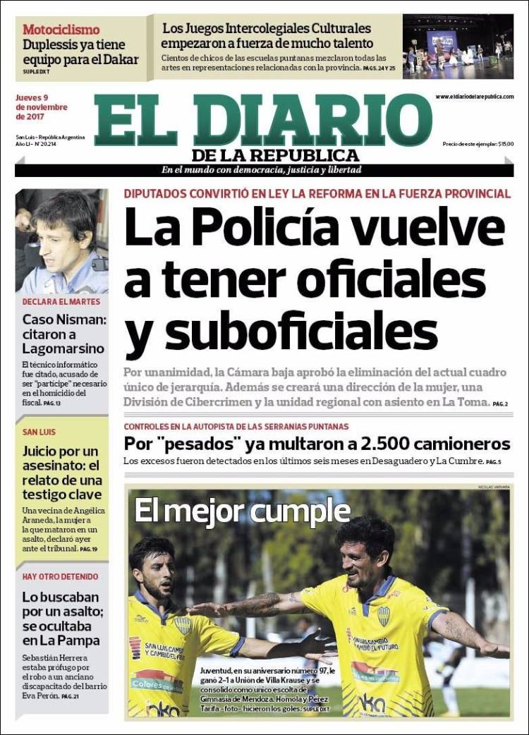 Portada de Diario de la República (Argentina)