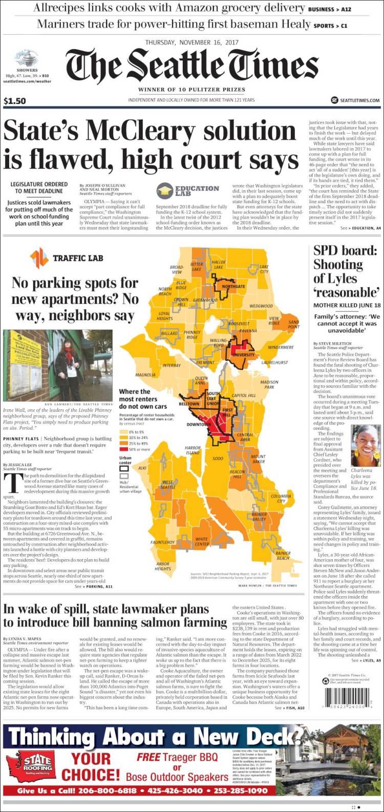 Portada de Seattle Times (États-Unis)