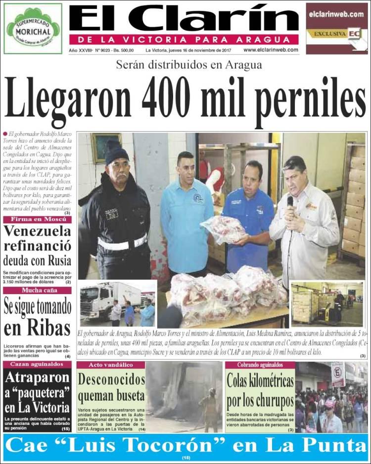 Newspaper El Clarín de la Victoria para Aragua (Venezuela ...