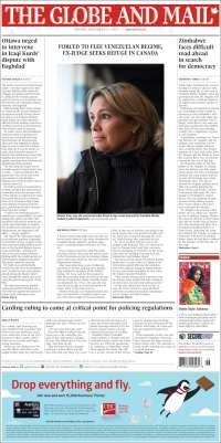 Portada de The Globe and Mail (Canada)