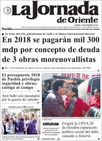 Portada de La Jornada de Oriente - Puebla (Mexique)