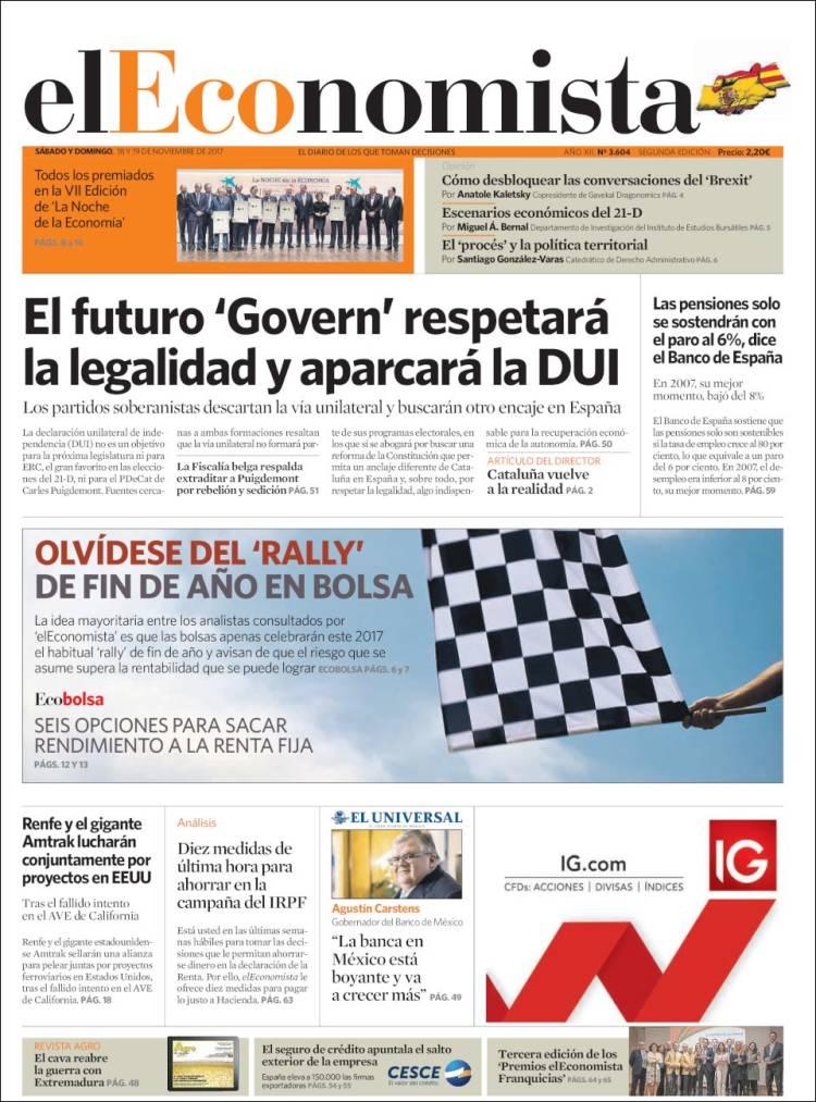 Portada de El Economista (Espagne)
