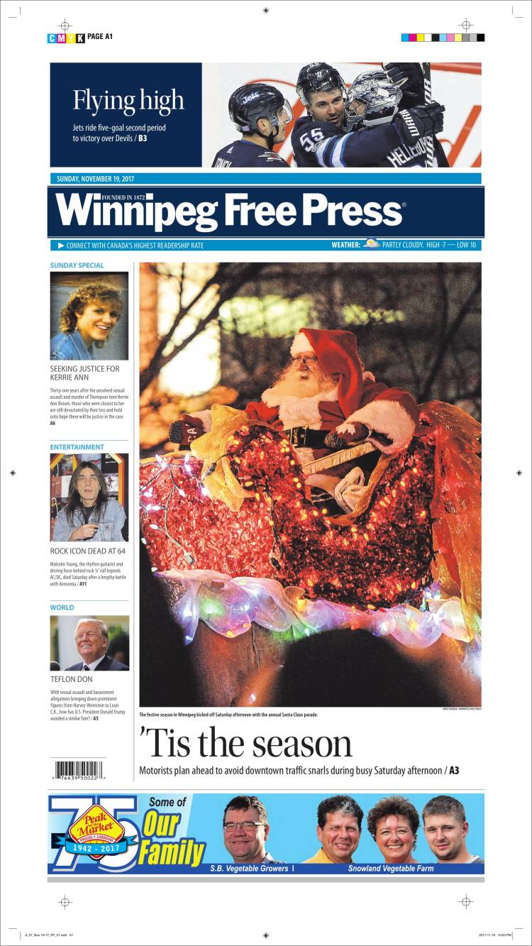 Portada de Winnipeg Free Press (Canada)