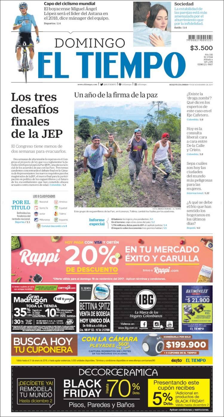 Portada de El Tiempo (Colombie)