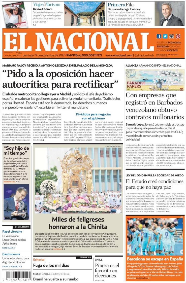 Portada De Diarios Nacionales E Internacionales 19nov