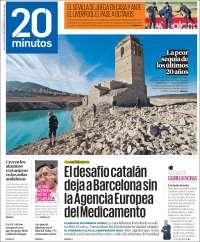 Portada de 20 Minutos - Malaga (España)