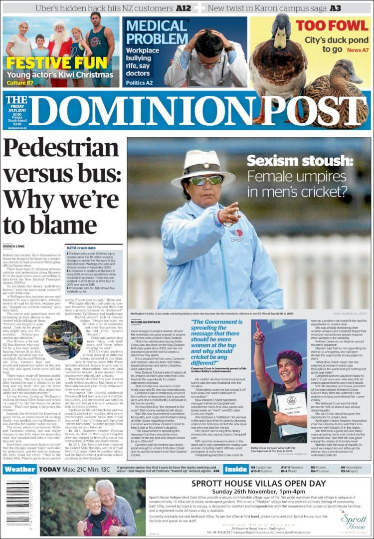 Portada de The Dominion Post (New Zealand)