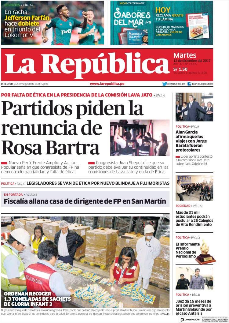 Portada de La Republica (Pérou)