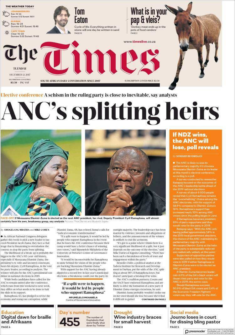 Portada de The Times (Afrique du Sud)