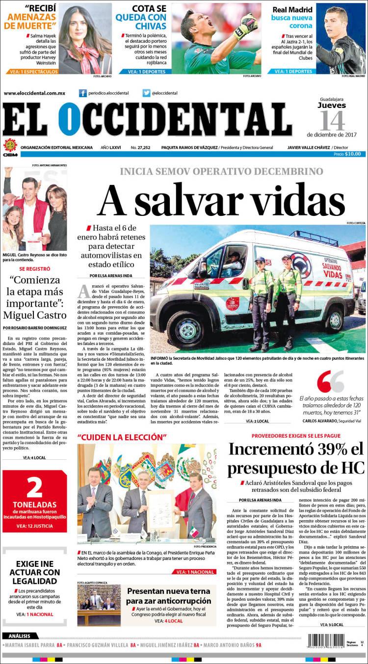 Periódico El Occidental (México). Periódicos de México. Edición de ...