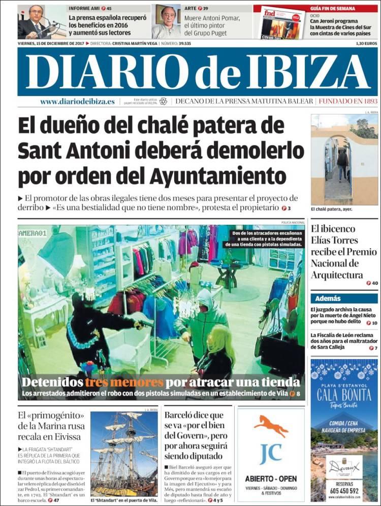 Periódico Diario de Ibiza (España). Periódicos de España. Edición de ...