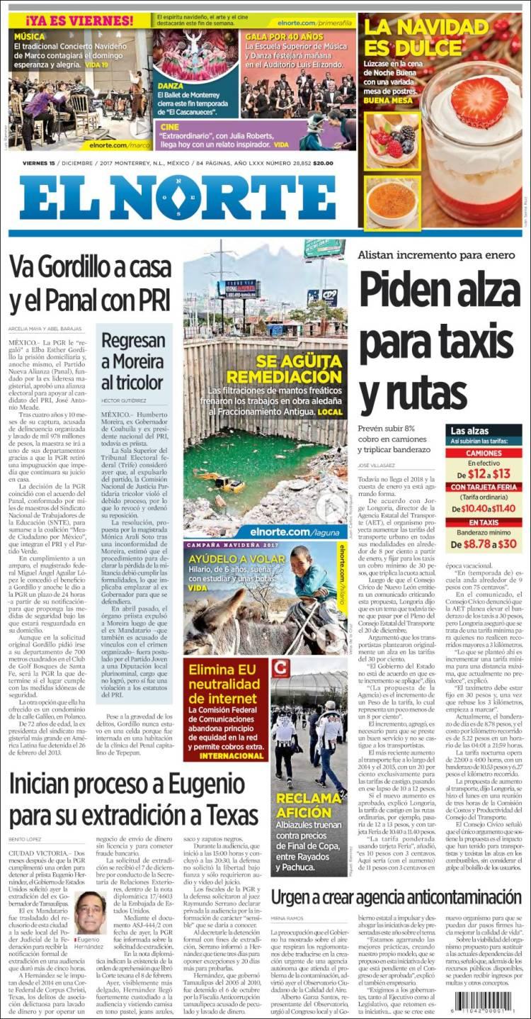 Portada de El Norte (Mexico)