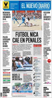 Portada de El Nuevo Diario (Nicaragua)