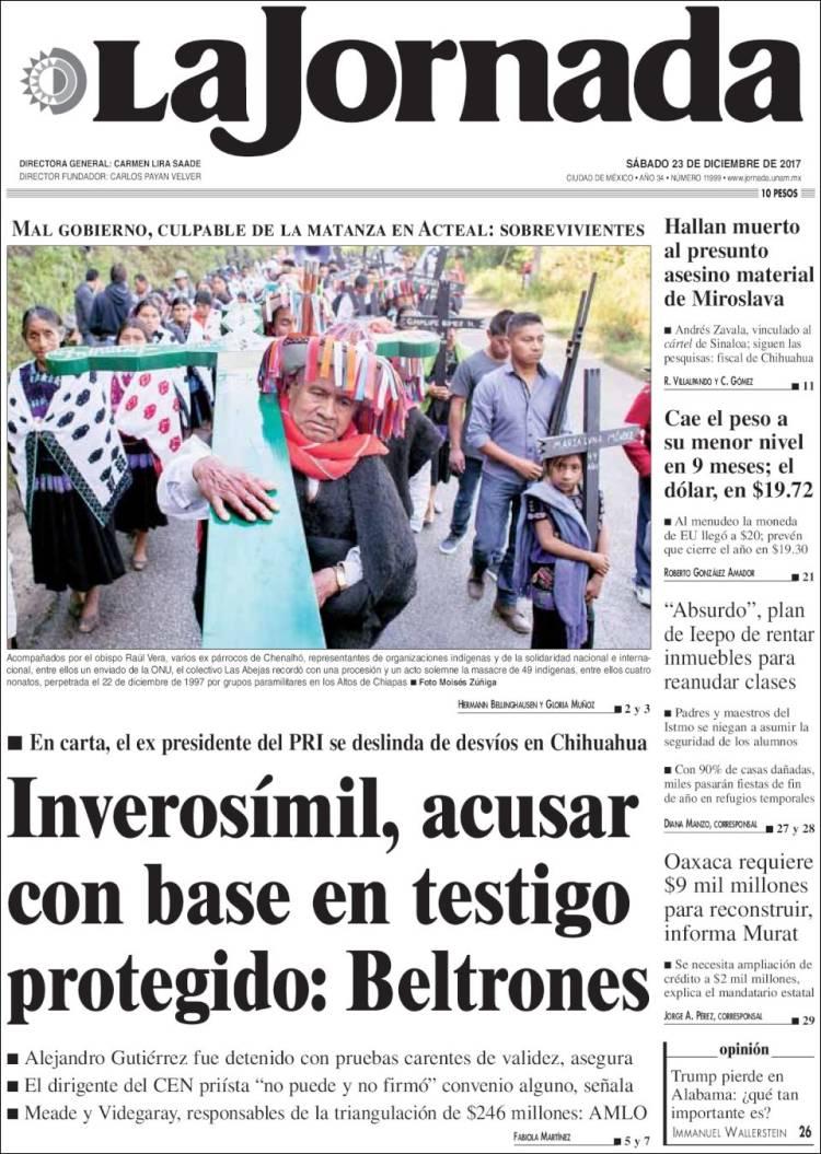Periódico La Jornada (México). Periódicos de México. Edición de ...