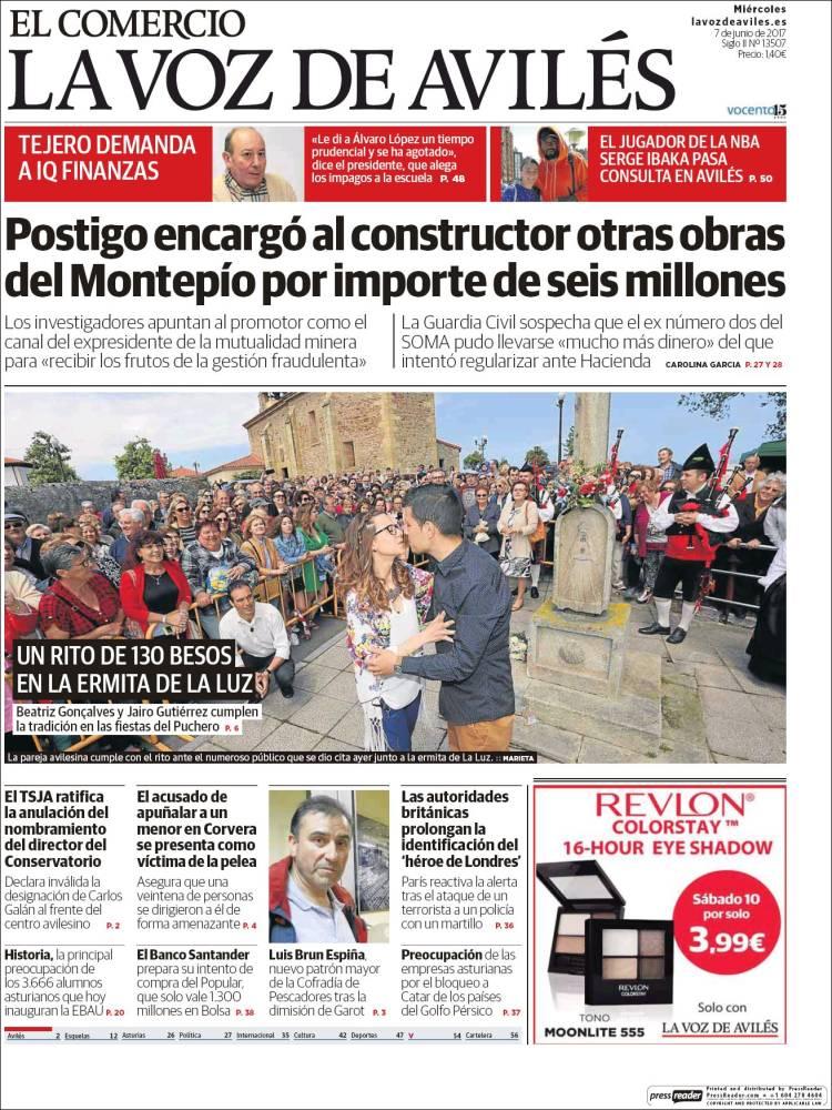 Periódico El Comercio Avilés España Periódicos De España Edición De Miércoles 7 De Junio De 2017 Kiosko Net