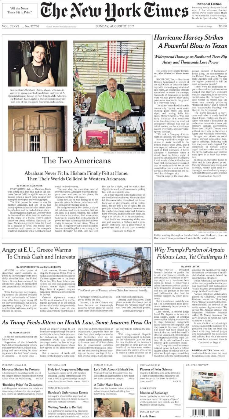 Newspaper New York Times Usa Newspapers In Usa Sunday S Edition August 27 Of 2017 Kiosko Net