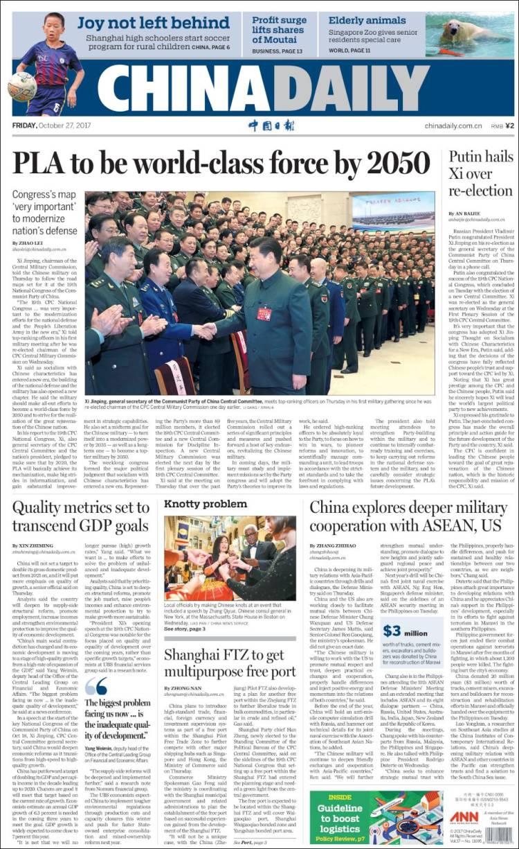 Newspaper China Daily (China). Newspapers in China. Friday's ...